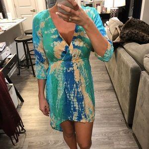 V Neck Hi-Lo Tie Dye Dress